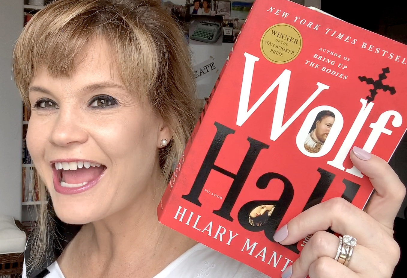 woman holding wolf hall